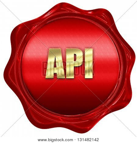 api, 3D rendering, a red wax seal