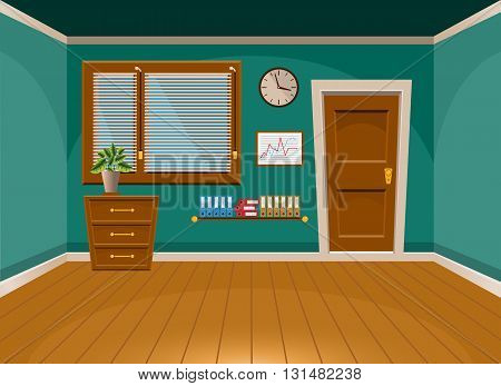 Cartoon Flat Vector Interior Office Room In Turquoise Style. Vector Illustration