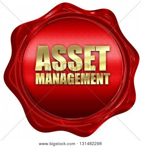 asset management, 3D rendering, a red wax seal