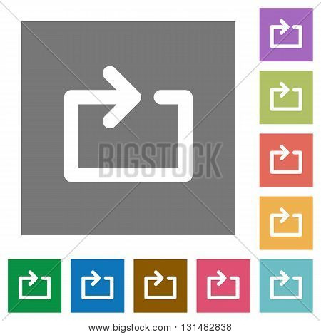 Media repeat flat icon set on color square background.
