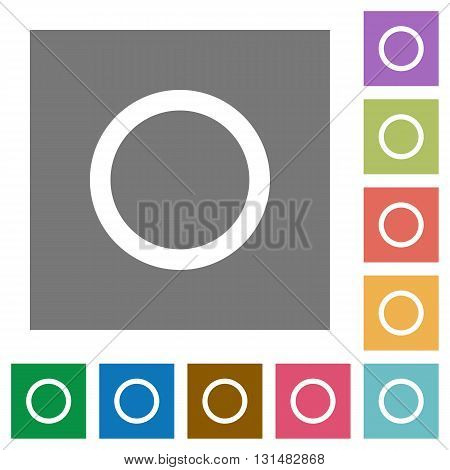 Media record flat icon set on color square background.