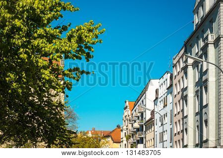 Traditional street view of old buildings in Munich, Bavaria, Germany