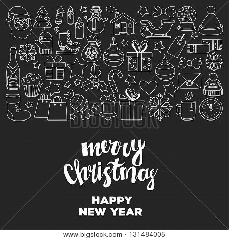 Doodle vector icons Merry christmas and happy new year Hand drawn pictures