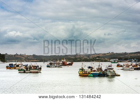 Fishing boats at Dalcahue on the Chiloe island