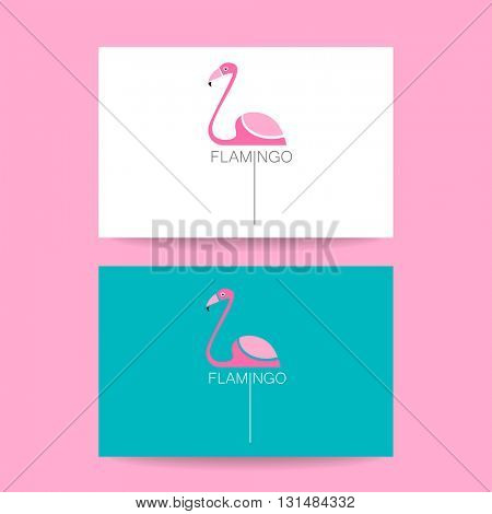 Flamingo logo. Identity card. Illustration pink flamingo. Exotic bird. Flamingo illustration idea for logo, emblem, symbol, icon.