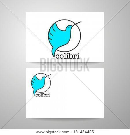 Colibri Logo. Identity card design template. Hummingbird Logo. Bird icon character. Idea for mascot symbol, icon, emblem.