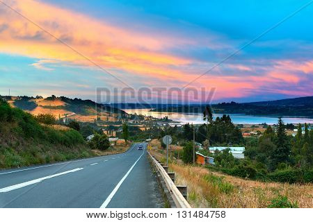 Road to Dalcahue at Chiloe Island Chile