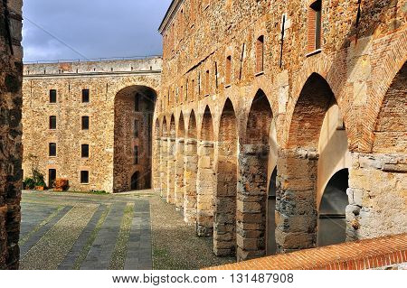courtyard of the Priamar fortress in Savona