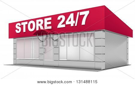 3D Illustration of store isolated on white background