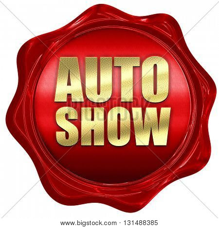 auto show, 3D rendering, a red wax seal