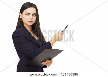 Happy young woman holding tablet and showing copyspace isolated on white background