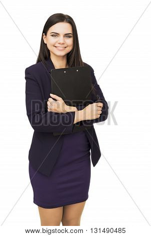 Happy young woman holding tablet isolated on white background
