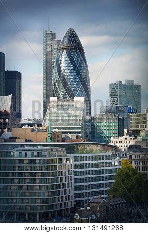 LONDON, UK - SEPTEMBER 19, 2015: City of London office buildings