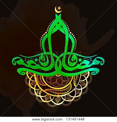 Green Arabic Islamic Calligraphy of text Ramadan Kareem with floral decoration, Elegant greeting card design for Holy Month of Muslim Community Festival celebration.