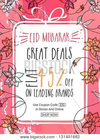 Stylish Eid Sale Flyer, Sale Banner, Sale Poster, Sale Pamphlet, Great Deals with Flat 45% Off on Leading Brands, Sale Vector Illustration.