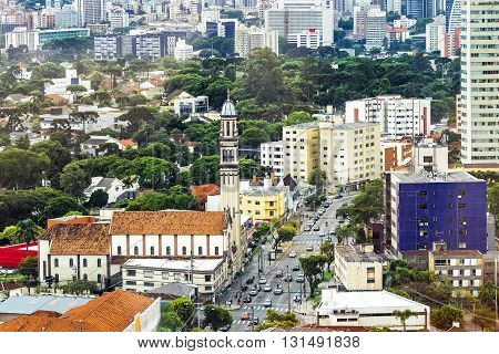 Aerial view of Curitiba, Parana State, Brazil.