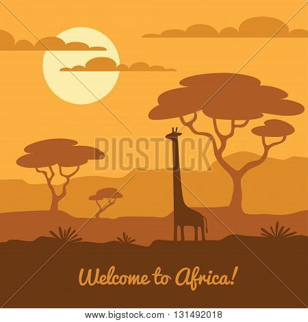 Africa landscape illustration with cute giraffe silhouette and african trees. Can be used for touristic or safari banner poster design