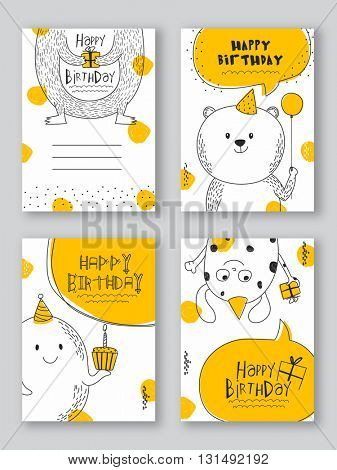 Birthday Party Cards Templates, Set of Four Party Patterns, Hand drawn Party Background with doodle illustration of cartoons and other elements.