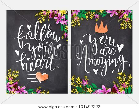 Colorful flowers decorated greeting or invitation card design with stylish typography on chalkboard background. Hand drawn vector illustration in doodle style.