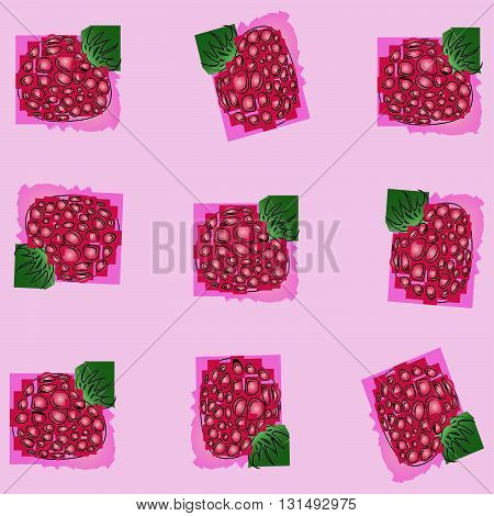 berry raspberry.	the pattern of schematically drawn raspberries