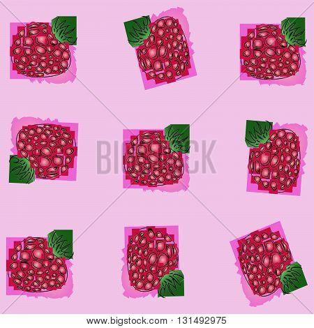 berry raspberry.the pattern of schematically drawn raspberries