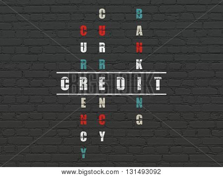 Banking concept: Painted white word Credit in solving Crossword Puzzle