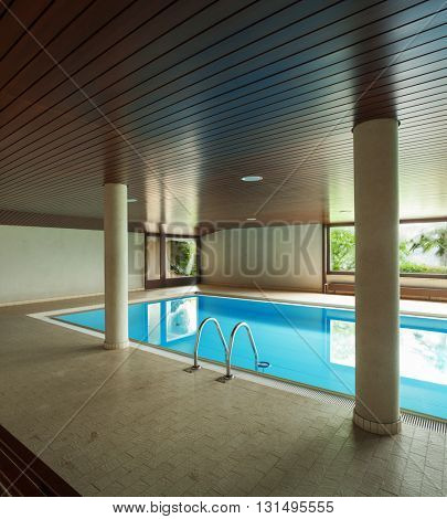 Pool full of water in the interior