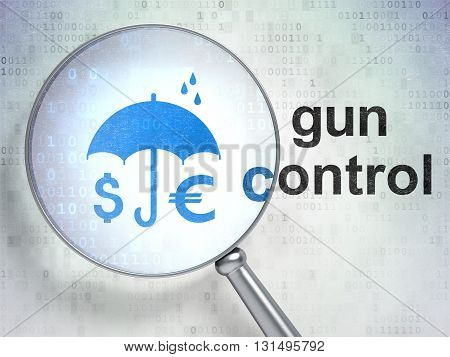 Protection concept: magnifying optical glass with Money And Umbrella icon and Gun Control word on digital background, 3D rendering