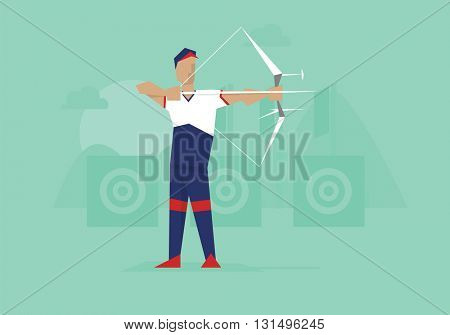 Illustration Of Male Archer Competing In Event