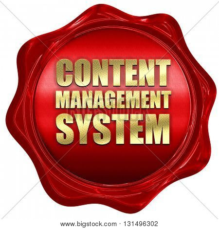 content management system, 3D rendering, a red wax seal