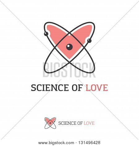 Icon of atom and heart shape. Love science chemistry physics creative logo concept