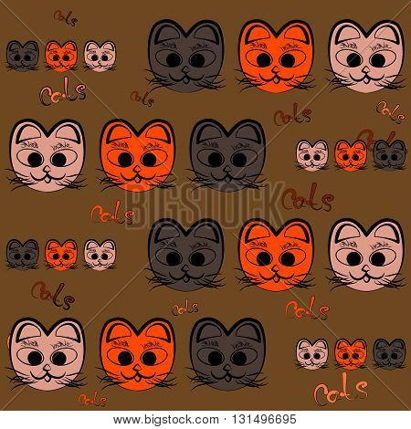 Seals for background fabric pattern with the words cats.