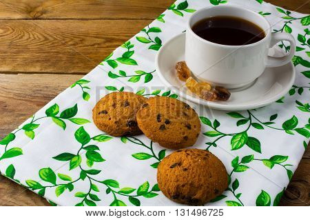 Breakfast tea and cookies. Homemade biscuit. Homemade cookies.Sweet dessert. Breakfast cookies. Sweet pastry. Cup of tea. Tea cup. Breakfast tea.