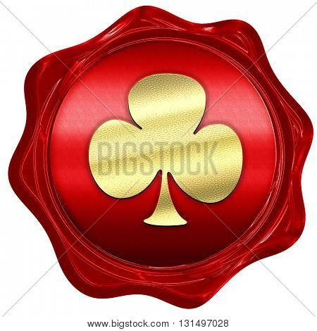 Clubs card background, 3D rendering, a red wax seal