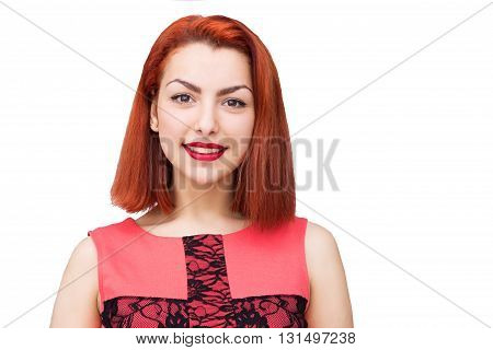 Close-up portrait of red head woman with nice smile