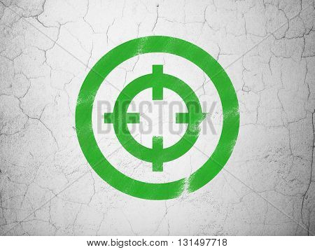 Business concept: Green Target on textured concrete wall background