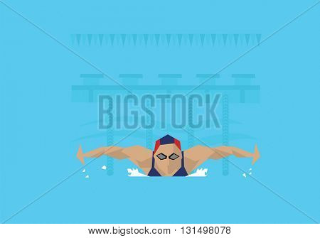 Illustration Of Female Swimmer Competing In Butterfly Event