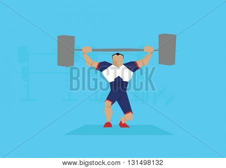 Illustration Of Male Weightlifter Competing In Event