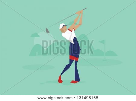 Illustration Of Male Golfer Competing In Event