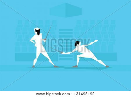Illustration Of Two Male Fencers Competing In Event