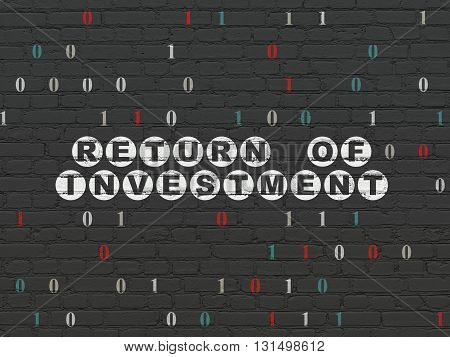 Finance concept: Painted white text Return of Investment on Black Brick wall background with Binary Code