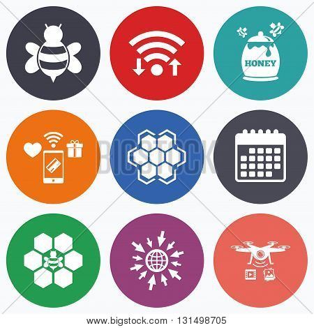 Wifi, mobile payments and drones icons. Honey icon. Honeycomb cells with bees symbol. Sweet natural food signs. Calendar symbol.