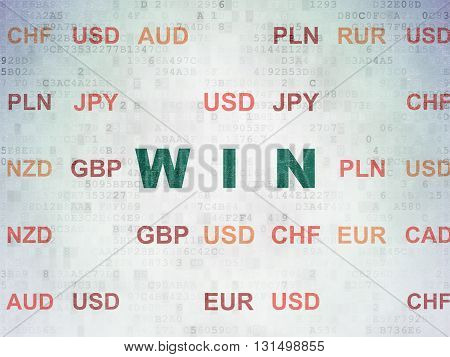 Business concept: Painted green text Win on Digital Data Paper background with Currency