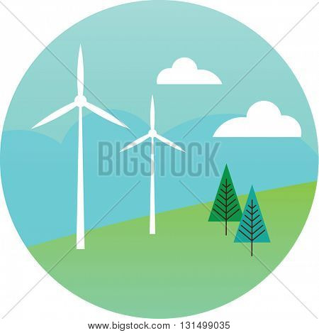 Illustration Of Wind Turbines To Show Alternative Energy