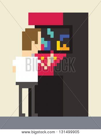 Pixel Art Image Of Gamer Playing On Retro Arcade Machine