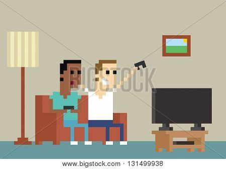 Pixel Art Image Of Gamers Playing Together At Home
