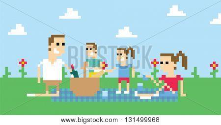 Pixel Art Image Of Family Having Picnic In Park