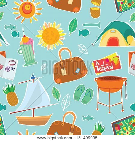 Illustration Of Travel And Vacation Icons