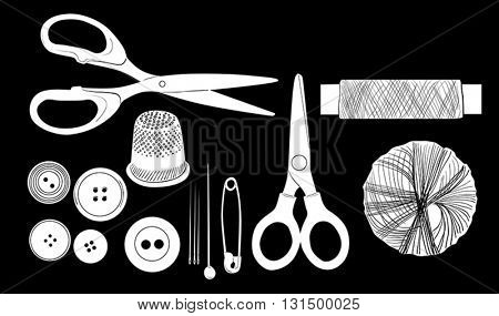 set of sewing items isolated on black background