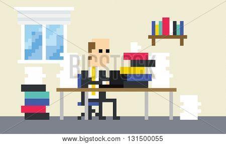 Pixel Art Image Of Businessman Working At Desk